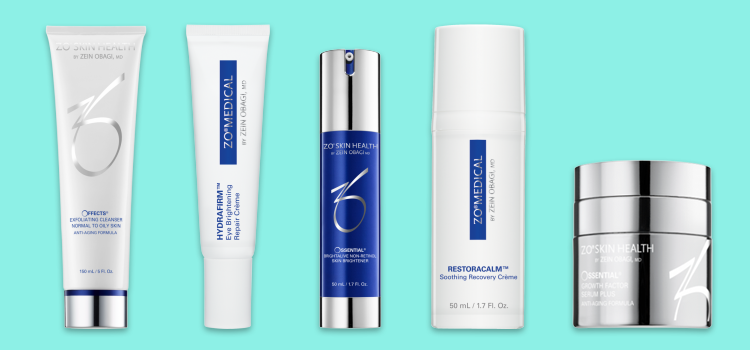 Collection of ZO skin care products for sensitive skin
