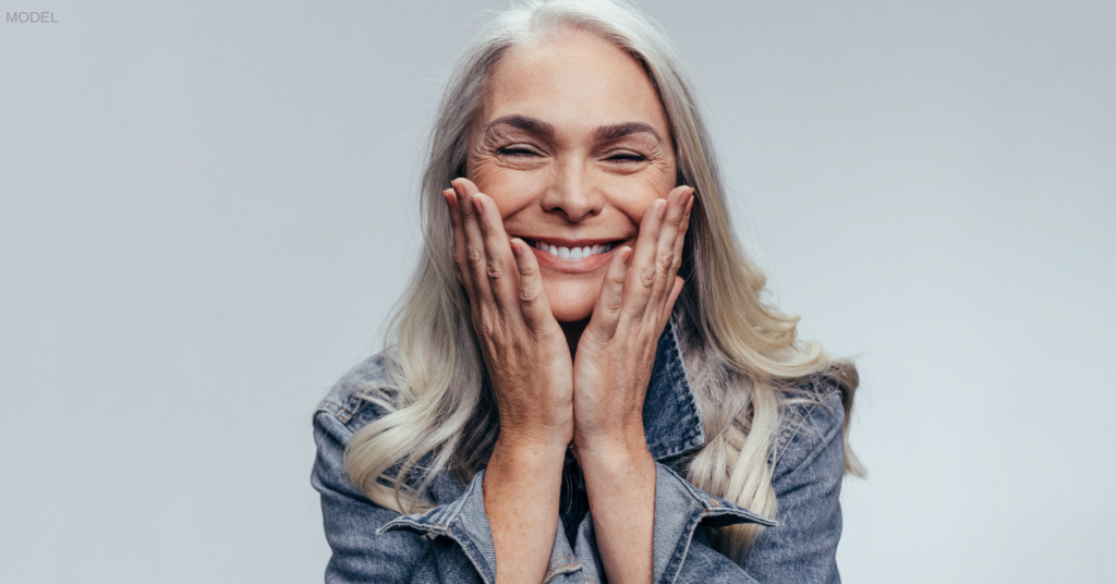 Woman excited after seeing results of facelift surgery in Nashville, TN